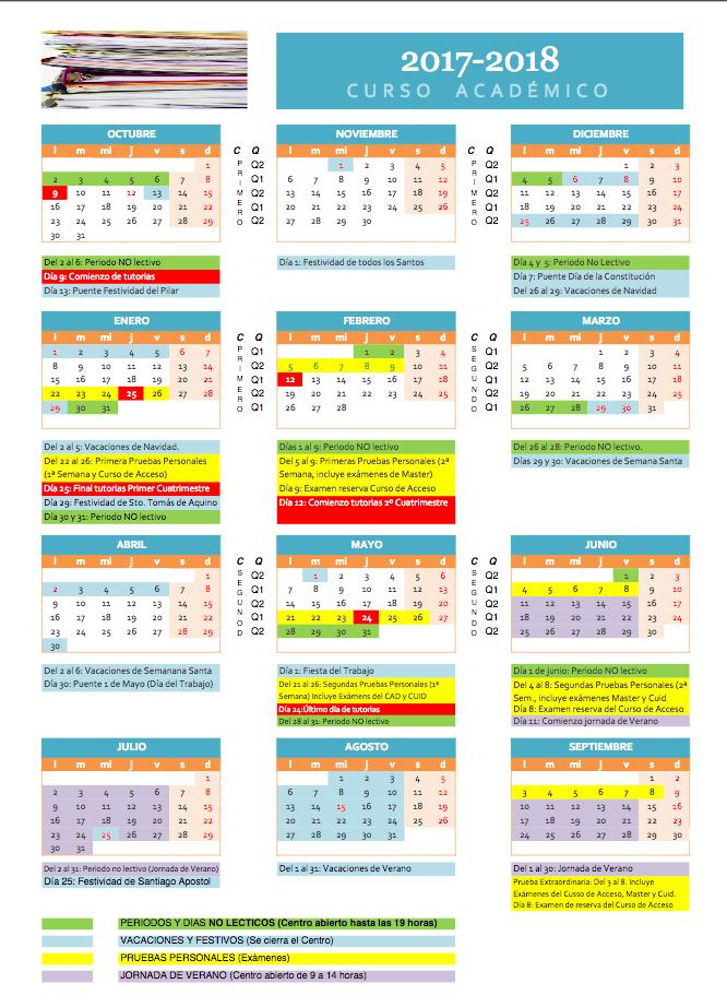 Uned Calendario Examenes.Calendario De La Univerdad Uned De Vitoria Gasteiz